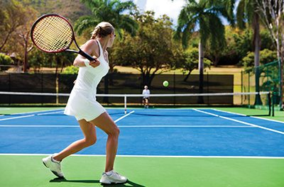 Practice tennis 1, 2, 3… racquet back, step, hit